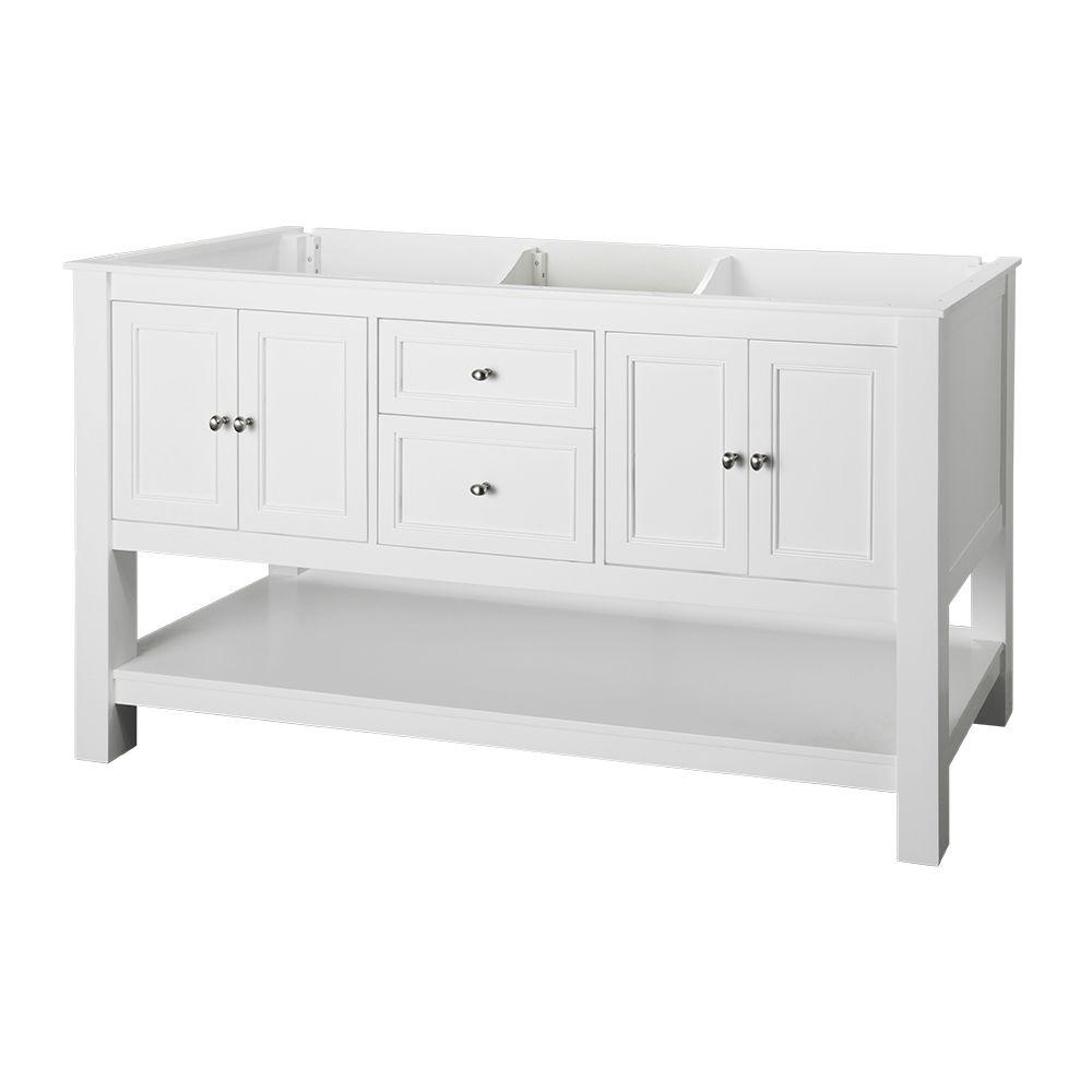 Double bathroom vanities without tops - Home Decorators Collection Gazette 60 In W Bath Vanity Cabinet Only In White With Double