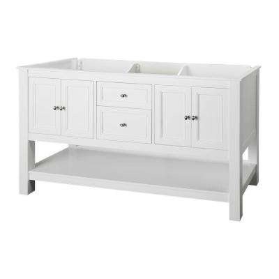 Gazette 60 in. W Bath Vanity Cabinet Only in White with Double Bowl Design