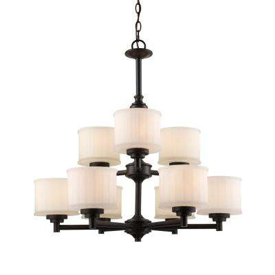Cahill 9-Light Rubbed Oil Bronze Chandelier with Frosted Shades