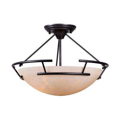 Ava Collection 2-Light Oil Rubbed Bronze Indoor Semi Flush Mount