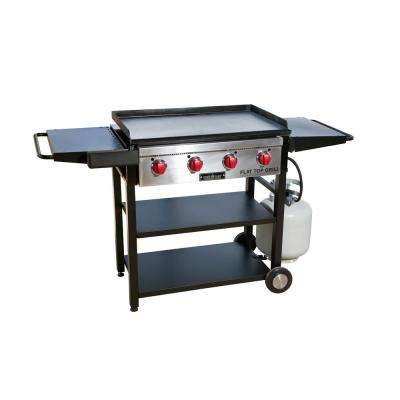 Flat Top Grill 4-Burner Propane Gas Grill in Black with Griddle