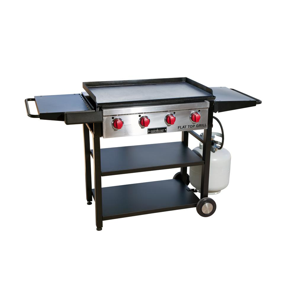 Flat Top Grill 4 Burner Propane Gas In Black With Griddle