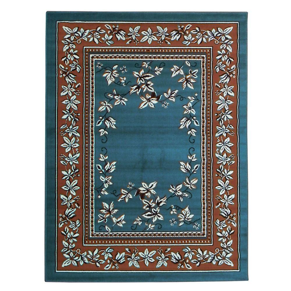TajMahal Oriental Design Blue 5 ft. 2 in. x 7 ft. Indoor Area Rug
