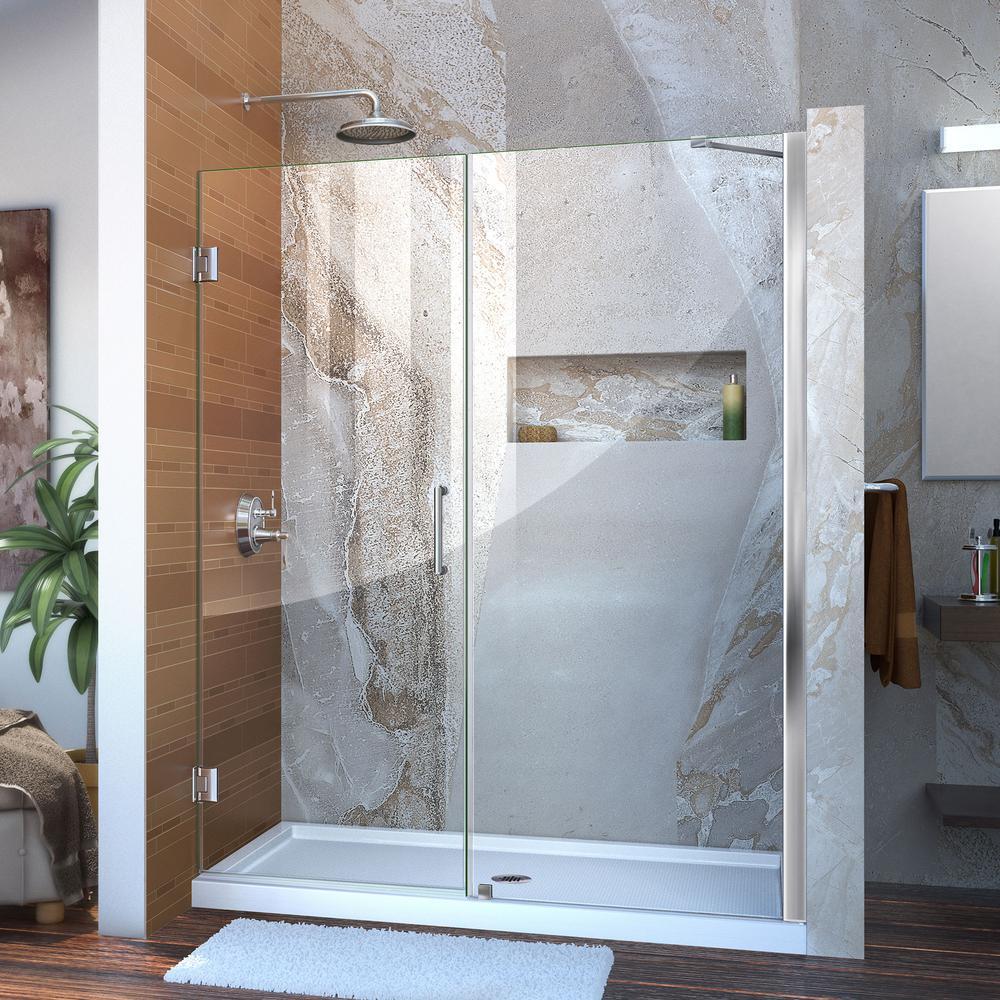 Unidoor 58 to 59 in. x 72 in. Frameless Hinged Shower Door in Chrome