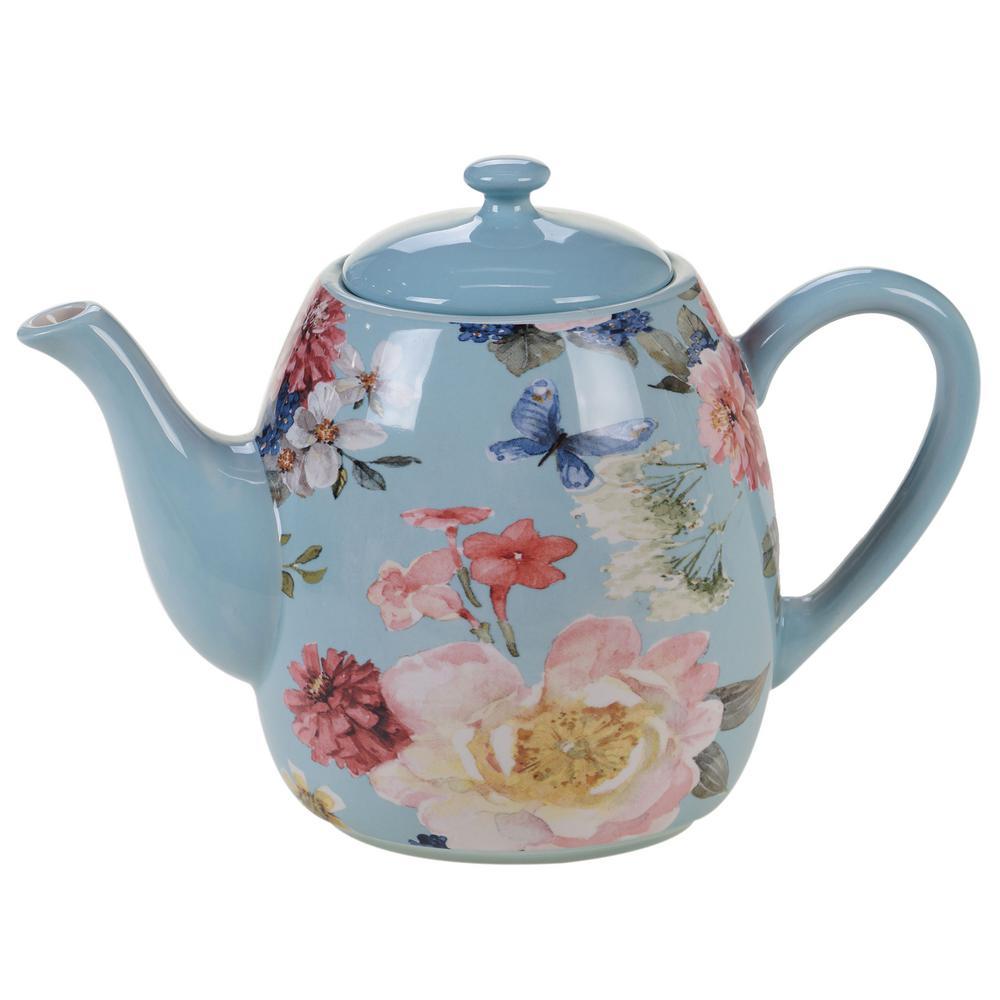 Spring Bouquet 40 oz. 4-Cup Multicolored Teapot