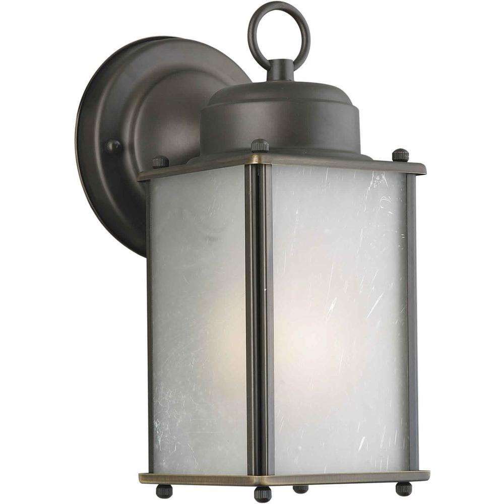 Talista 1-Light Outdoor Royal Bronze Wall Lantern with Frosted Seeded Glass