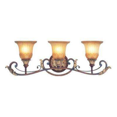 3-Light Verona Bronze Bath Light with Rustic Art Glass and Aged Gold Leaf Accents