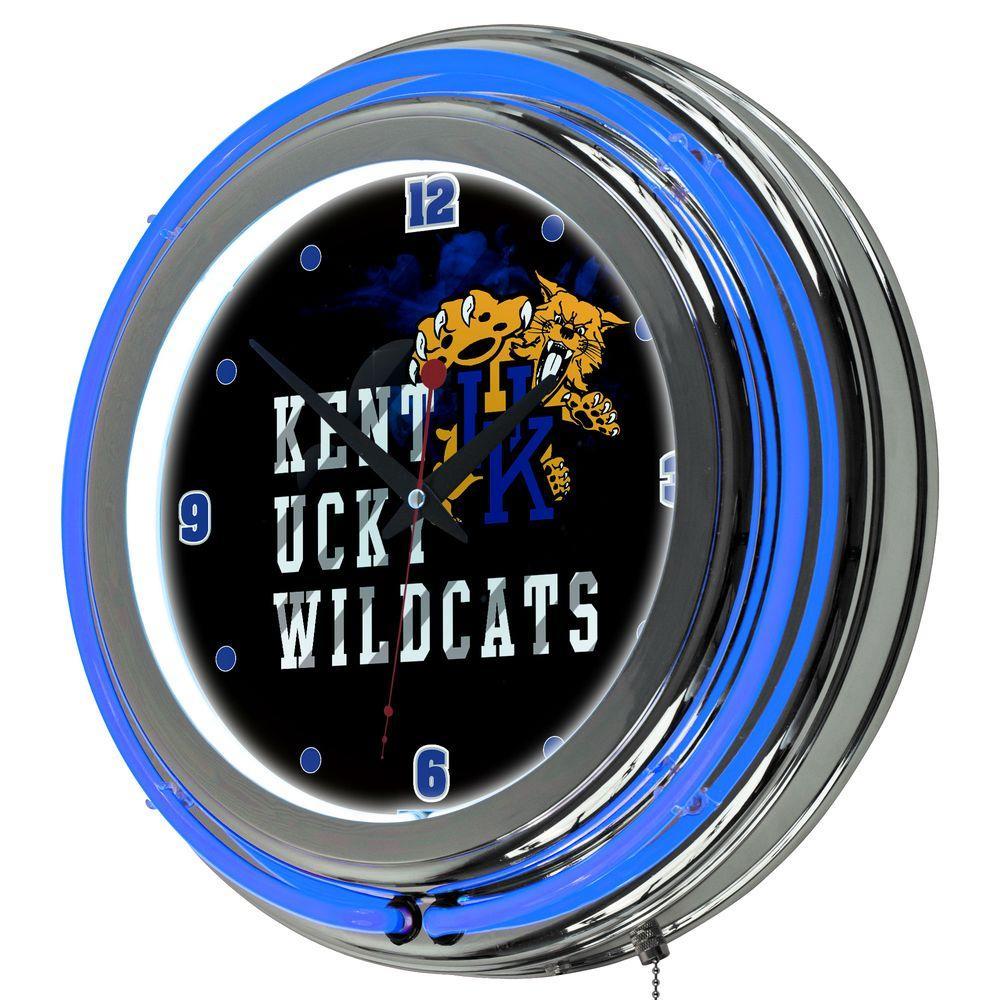 University of Kentucky 14 in. x 14 in. Smoke Round Neon Wall Clock