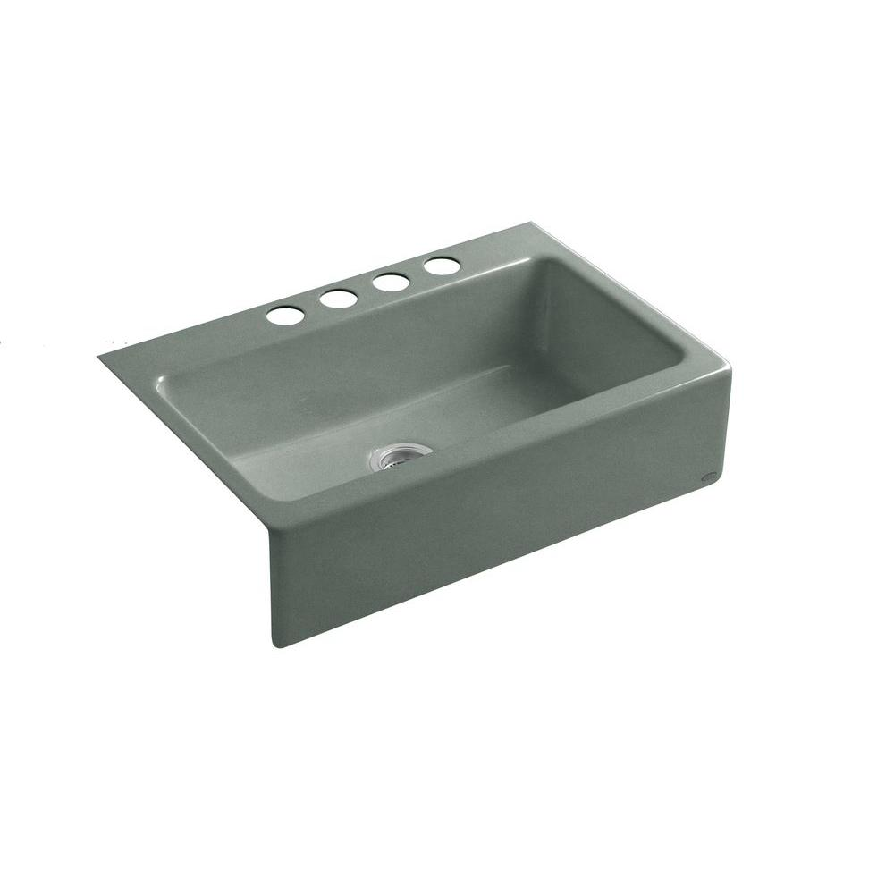 KOHLER Dickinson Undermount Farmhouse Apron-Front Cast Iron 33 in. 4-Hole Single Bowl Kitchen Sink in Basalt