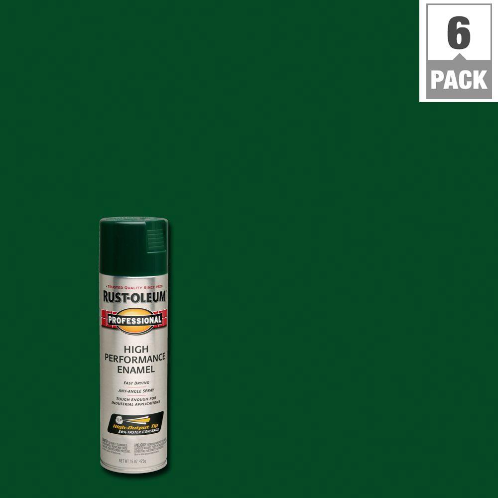15 oz. High Performance Enamel Gloss Hunter Green Spray Paint (6-Pack)
