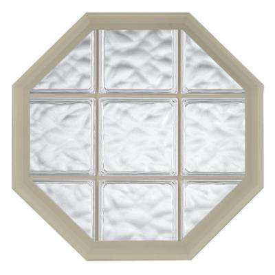 26 in. x 34 in. Acryilc Block Fixed Octagon Geometric Vinyl Window in Tan
