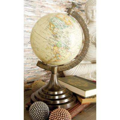15 in. x 8 in. Nautical Decorative Globe with Brass-Finished Stand