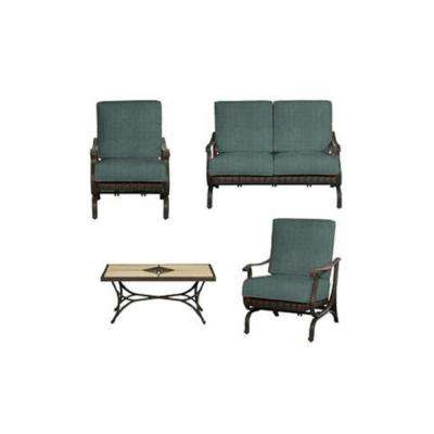 Prime Pembrey 4 Piece All Weather Wicker Patio Conversation Set With Peacock Java Cushions Gamerscity Chair Design For Home Gamerscityorg