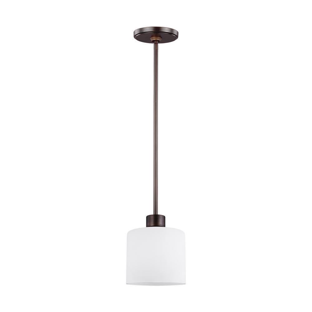 Sea Gull Lighting Canfield 1-Light Burnt Sienna Mini Pendant with LED Bulb