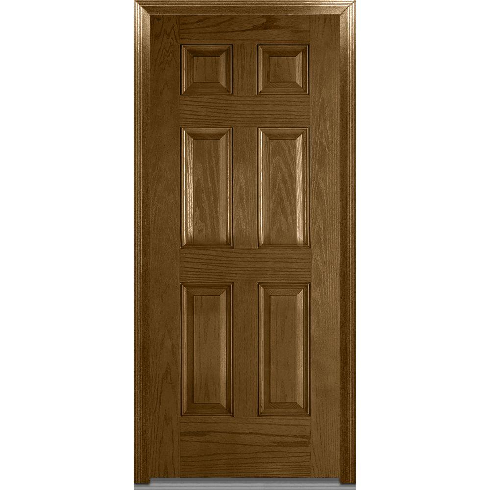 Mmi door 36 in x 80 in severe weather right hand outswing 6 panel stained fiberglass oak 36 x 80 outswing exterior door