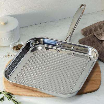 Gourmet Tri-Ply Clad 11 in. Square Grill Pan in Stainless Steel