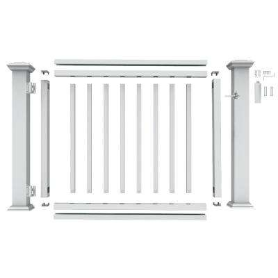 36 in. to 48 in. White PolyComposite Rail Gate Kit