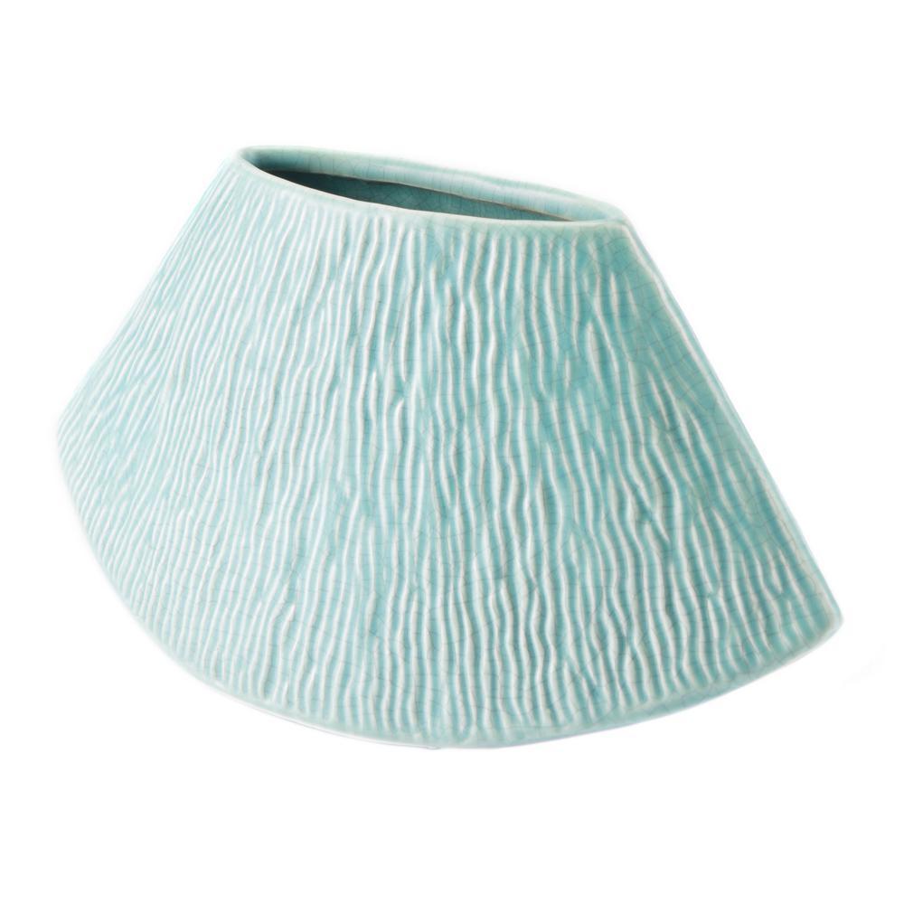 Lineal 11 in. W x 5.3 in. H Matt Green Ceramic Planter