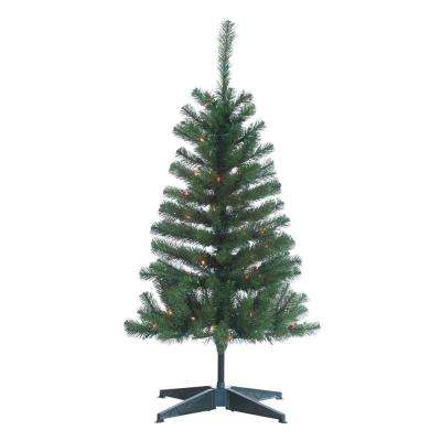 4 ft. Pre-Lit Cumberland Pine Artificial Christmas Tree with Multicolored Lights
