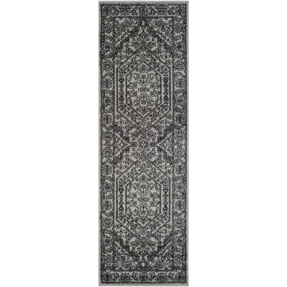 Adirondack Silver/Black 3 ft. x 12 ft. Runner Rug