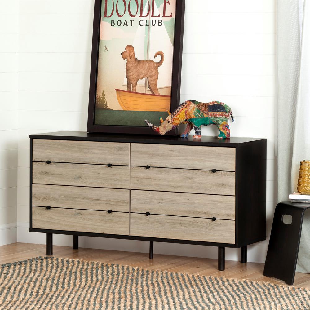 South S Morice 4 Drawer Ebony And Rustic Oak Dresser