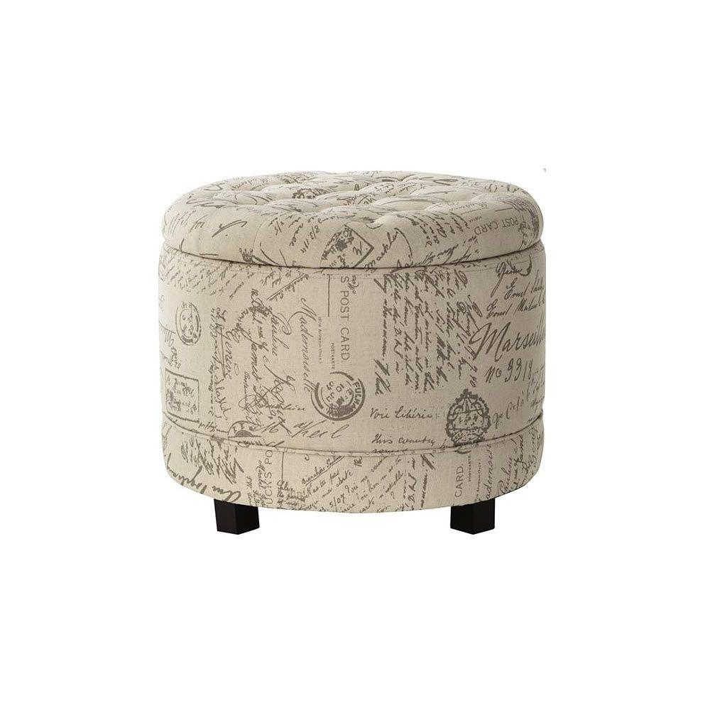 Home Decorators Collection Chambers Round Canvas Shoe Ottoman in Script