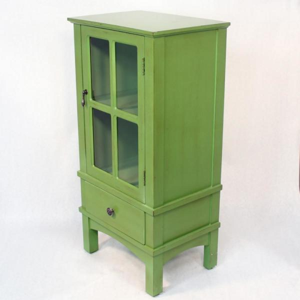 HomeRoots Shelly Assembled Green Wood 18 in. x 18 in. x 13 in. Glass Accent Cabinet with a Door