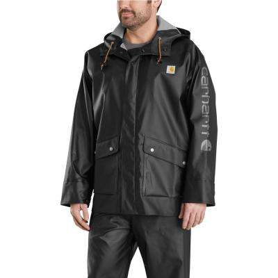 Men's Large Black Polyethylene/Polyester Waterproof Rain Storm Coat