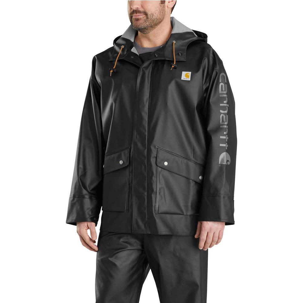 Carhartt Men's X-Large Black Polyethylene/Polyester Waterproof Rain Storm  Coat-103508-001 - The Home Depot