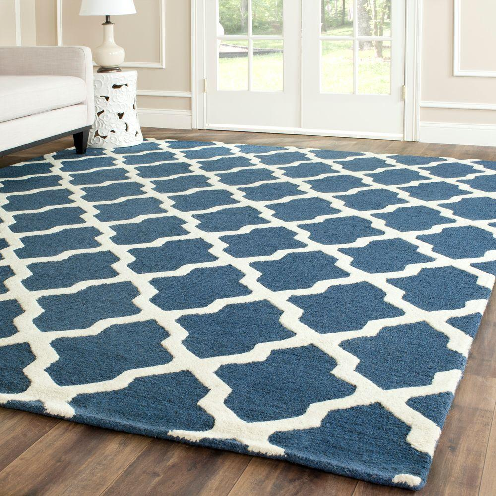 Safavieh Cambridge Navy BlueIvory 11 ft x 15 ft Area RugCAM121G