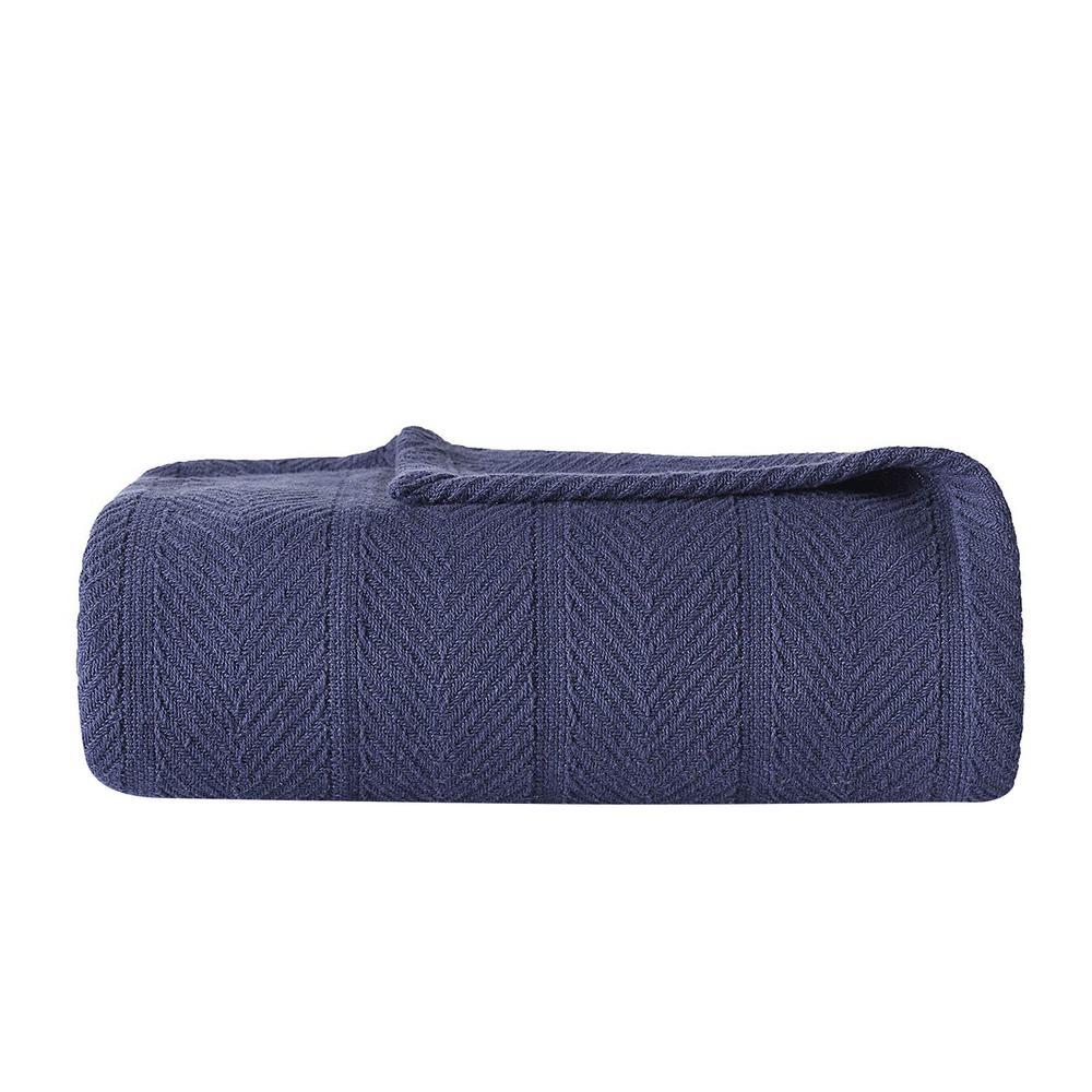 Eb Navy 100% Cotton King Blanket