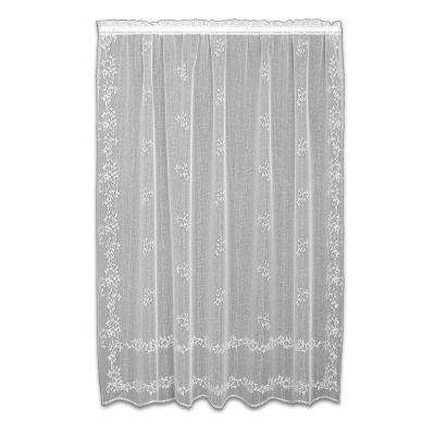 Sheer Divine White Lace Curtain 60 in. W x 63 in. L
