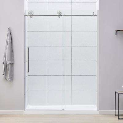 Lenny 60 in. W x 78.74 in. H Frameless Sliding Shower Door in Chrome