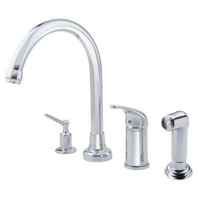 Melrose Single-Handle Standard Kitchen Faucet with Soap Dispenser and Spray in Chrome