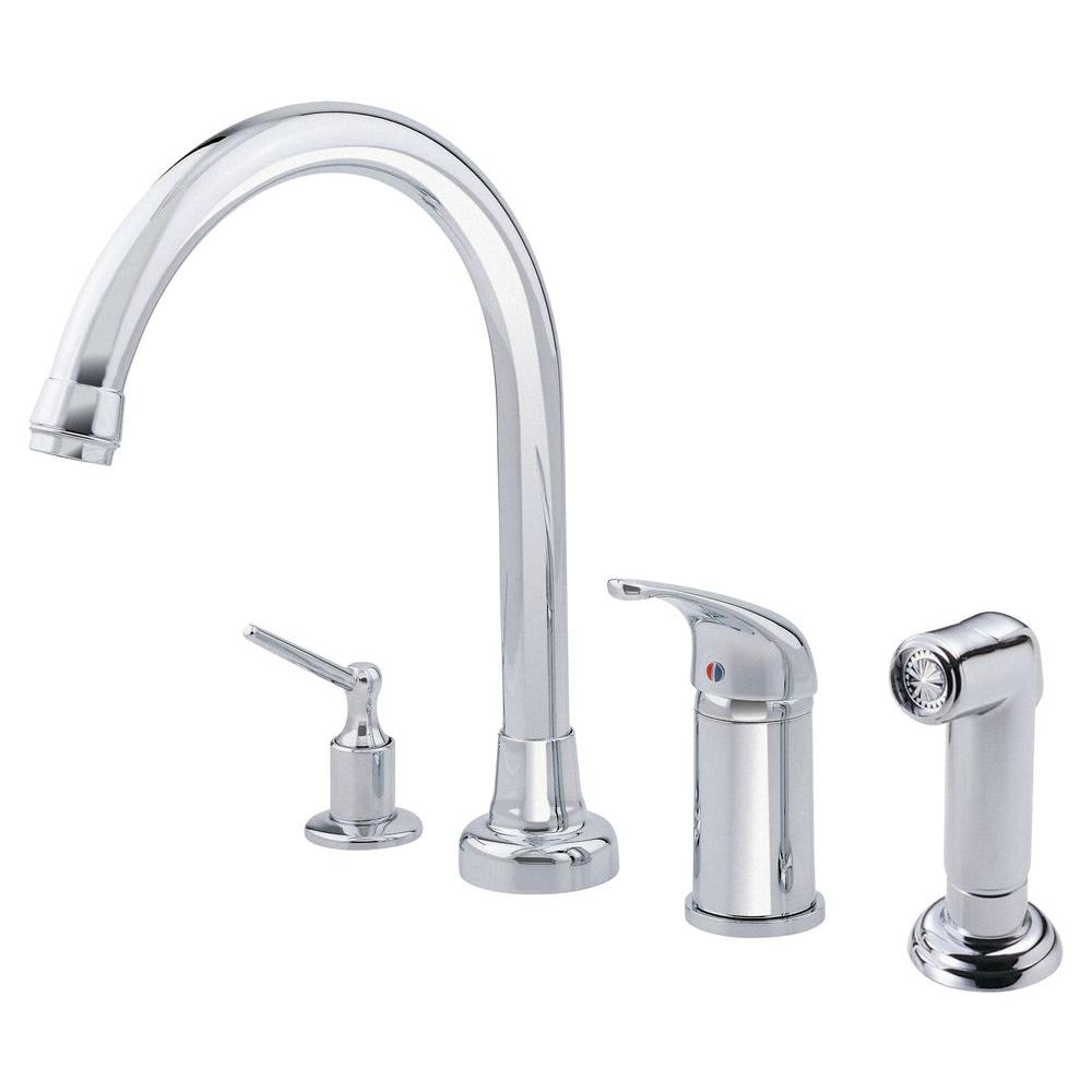 danze melrose single handle standard kitchen faucet with soap dispenser and spray in chrome - Danze Kitchen Faucets