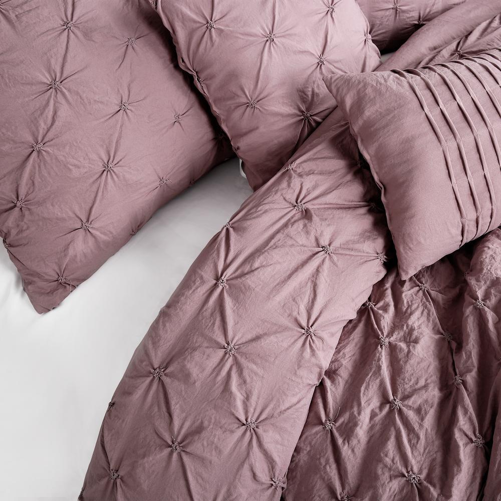 Ravello Pintuck Comforter Woodrose 5-Piece Full/Queen Set