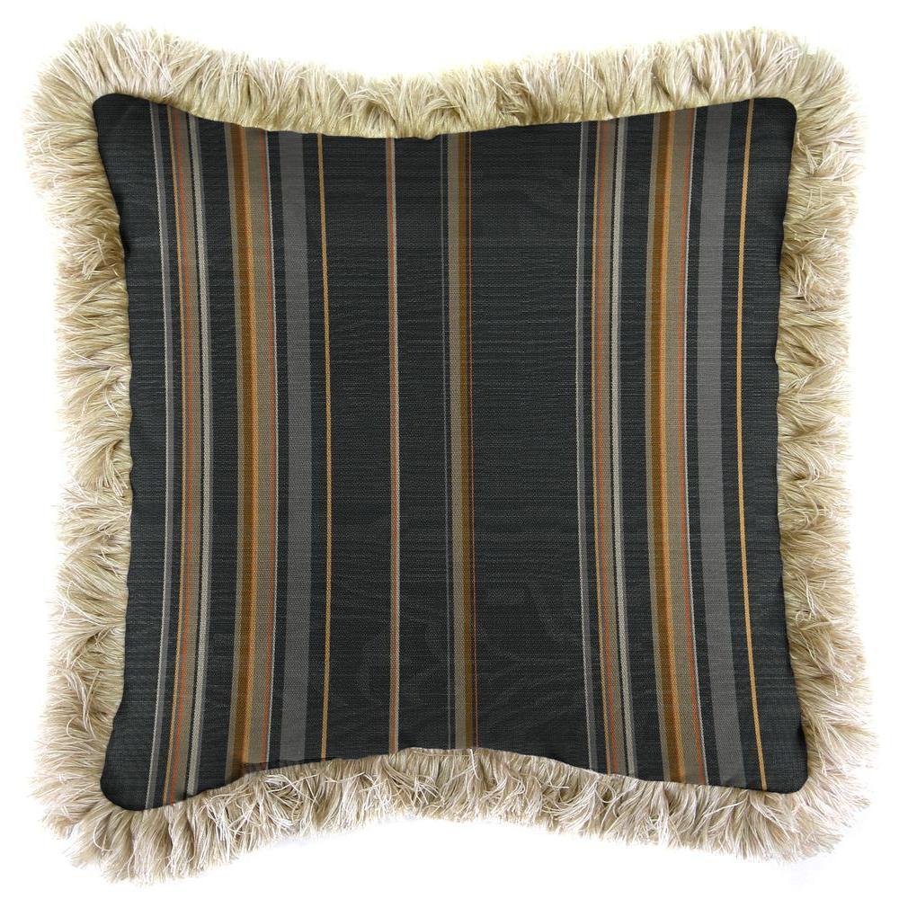 Sunbrella Stanton Greystone Square Outdoor Throw Pillow with Canvas Fringe