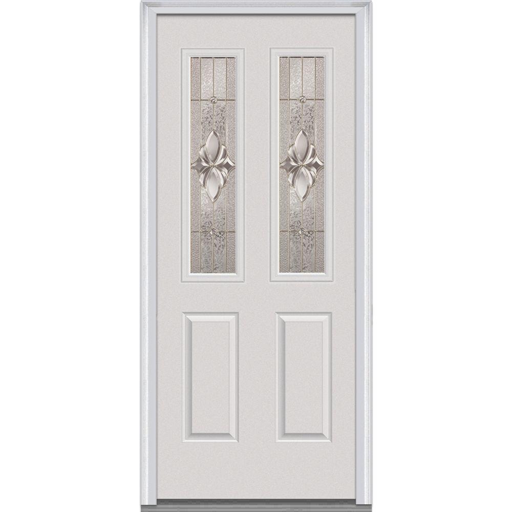 Milliken Millwork 30 in. x 80 in. Heirloom Master Decorative Glass 2 Lite 2-Panel Primed White Steel Prehung Front Door