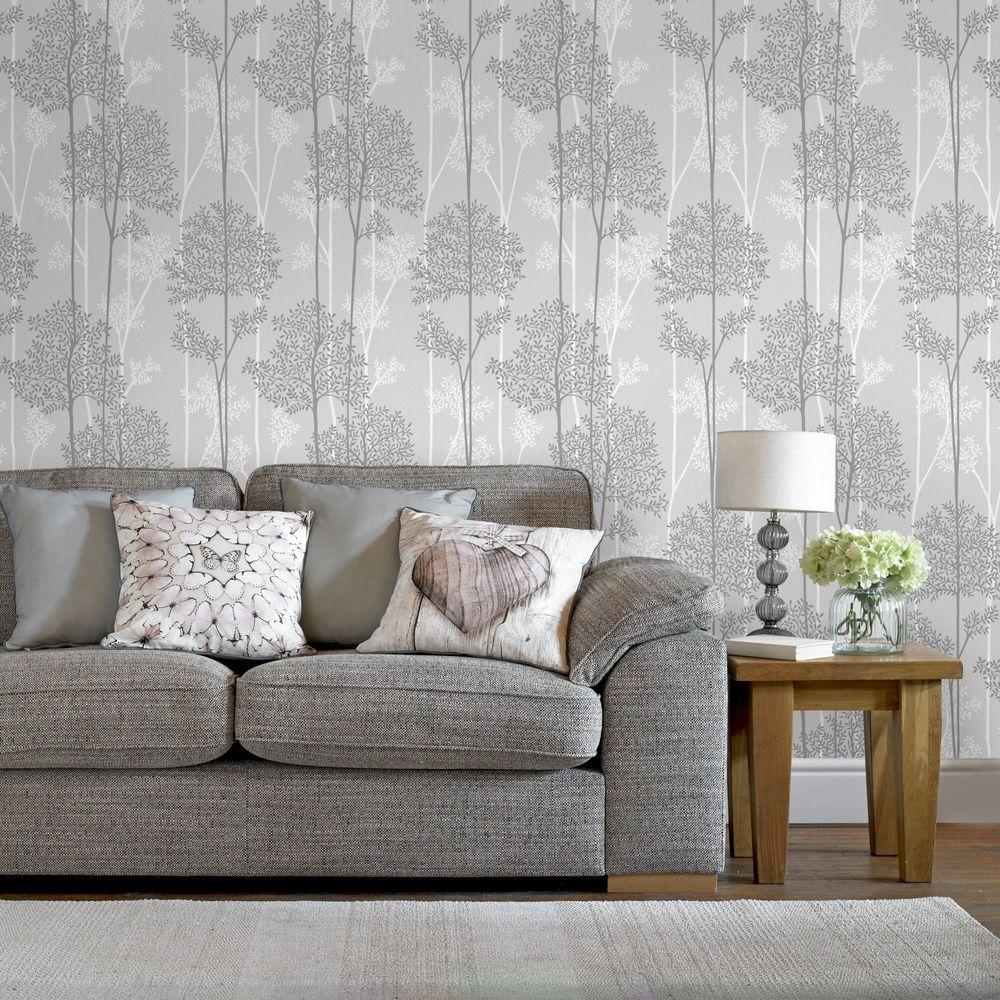 Graham brown gray eternal wallpaper 33 287 the home depot for Wallpaper for grey living room