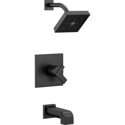 Ara 1-Handle Wall Mount Tub and Shower Trim Kit in Matte Black with H2Okinetic (Valve Not Included)