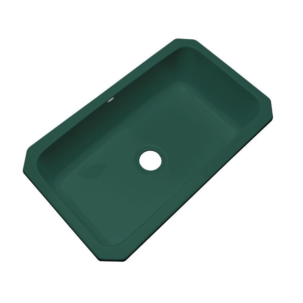 Thermocast Manhattan Undermount Acrylic 33 in. Single Bowl Kitchen Sink in Rain Forest