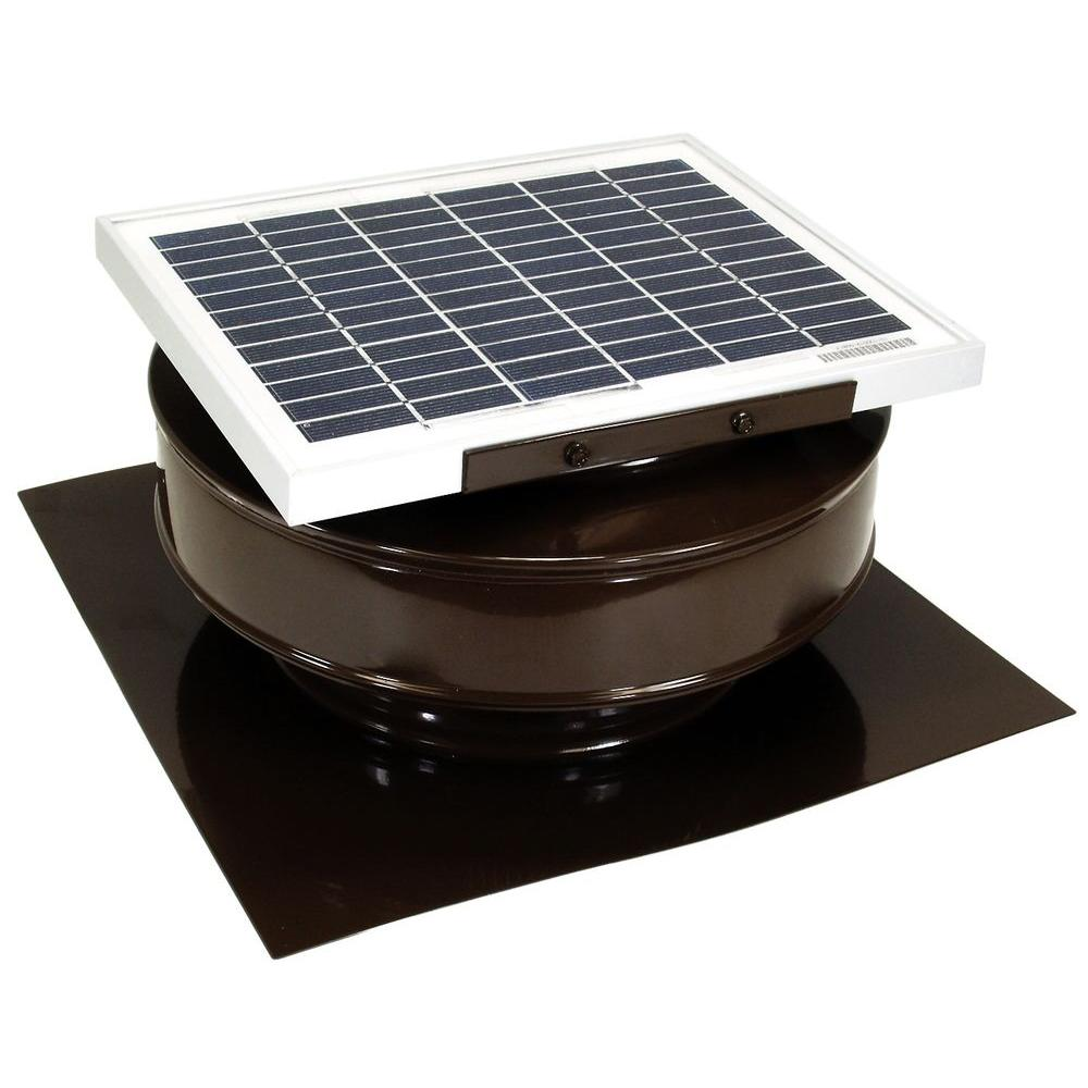 Active Ventilation 365 CFM Brown Powder Coated 5 Watt Solar Powered Roof Mounted Exhaust Attic Fan