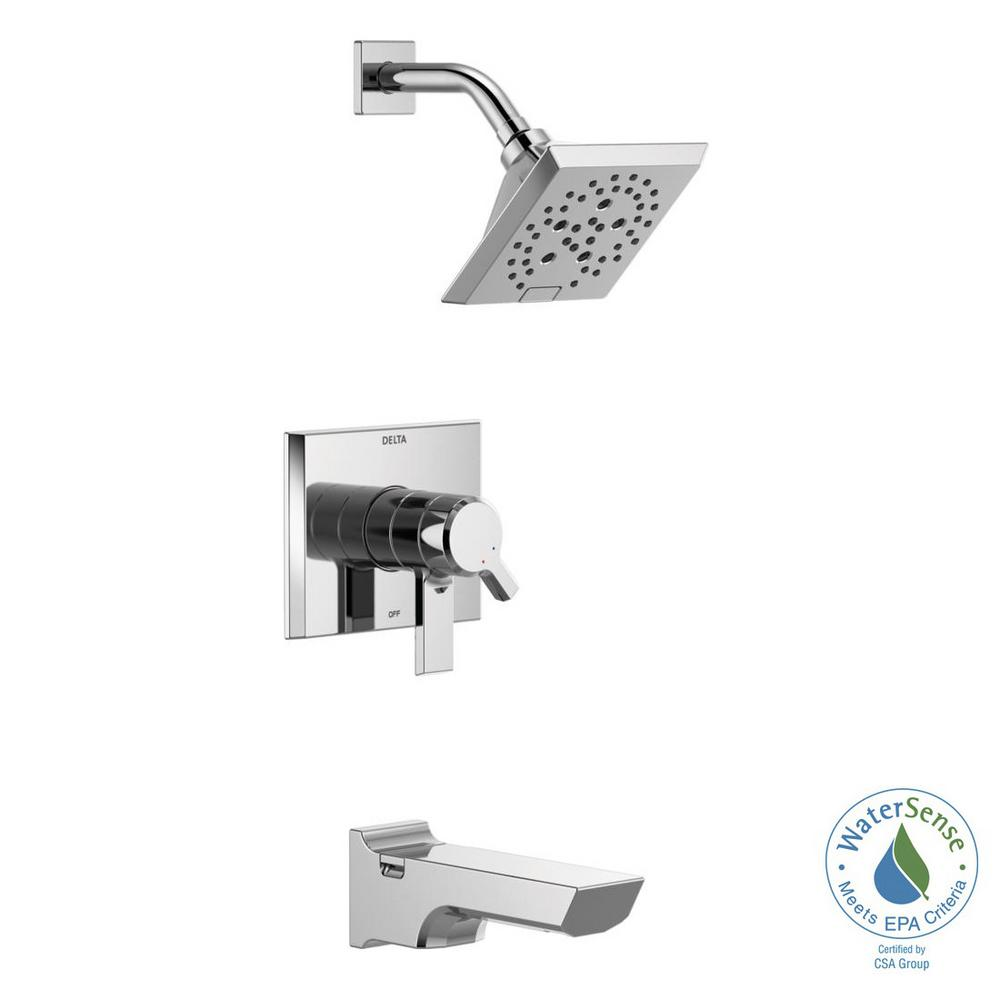 Pivotal 1-Handle Wall-Mount Tub and Shower Trim Kit with H2Okinetic Technology