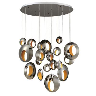 Arlington 57-Watt Blackened Chrome Chandelier Integrated LED with Metal Orbs Shade