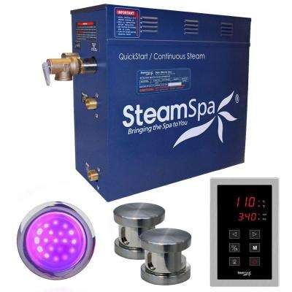 Indulgence 10.5kW QuickStart Steam Bath Generator Package in Polished Brushed Nickel