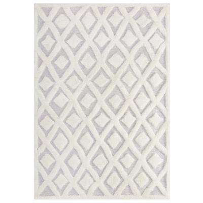 Morsel Abstract Diamond Lattice 5 ft. x 8 ft. Shag Area Rug in Ivory and Light Gray