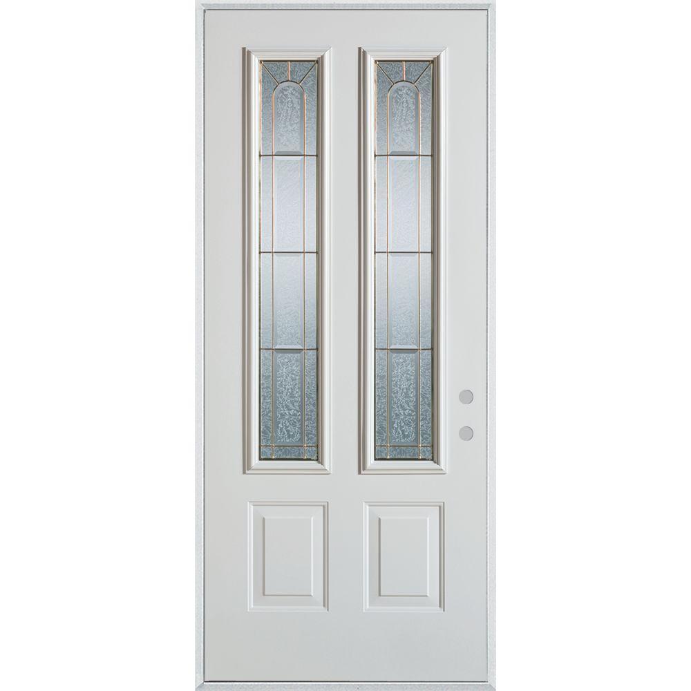 Stanley Doors 37.375 in. x 82.375 in. Geometric Zinc 2 Lite 2-Panel Painted White Left-Hand Inswing Steel Prehung Front Door