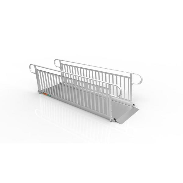 GATEWAY 3G 10 ft. Aluminum Solid Surface Wheelchair Ramp with Vertical Picket Handrails