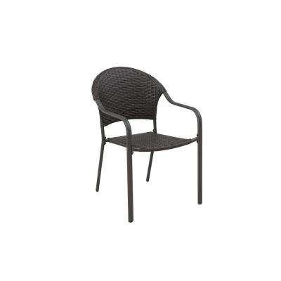 Mix and Match Brown Stationary Wicker Outdoor Patio Dining Chair (2-Pack)