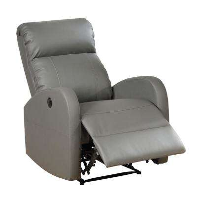 Grey Sean Modern Leather Infused Small Power Reading Recliner